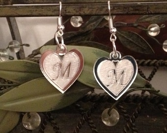 Laser Cut Heart Earrings Personalized With Initial