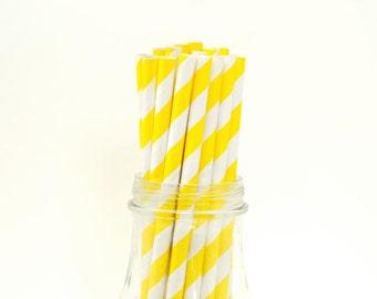 100 Yellow Paper Straws Striped Retro Vintage Style Carnival Circus Wedding Birthday Bridal Baby Shower W/ Printable Flags