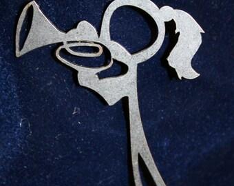 Female Mellophone or Baritone Player Stick Figure Keychain charm