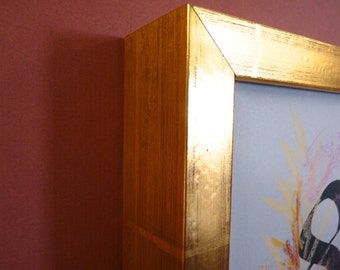 8 x 10 gold foil antiqued  wood shadow box display art canvas  frame
