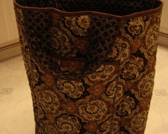 Brown Paisley Print Cotton Tote Bag