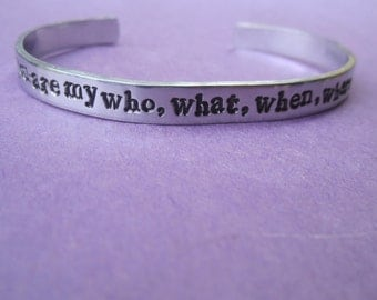 "you are my who,what,when,where,& why"" bracelet"