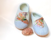 Women house shoes-Felted slippers with leather soles-pastel blue women slippers-wool slippers Blossoms -8,5 US