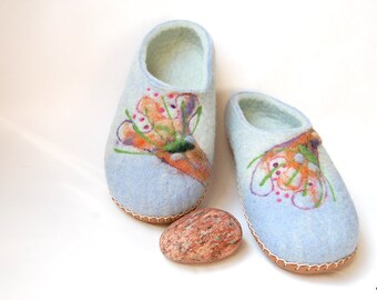 Women house shoes ,Felted slippers with leather soles ,pastel blue women slippers ,wool slippers Blossoms 8,5 US