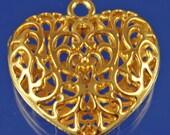 Valentines Silver OR Goldtone Openwork Pendant choose color