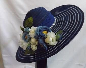 Derby navy blue straw hat.