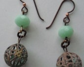 Lovely patina filagree and seafoam colored glass earrings