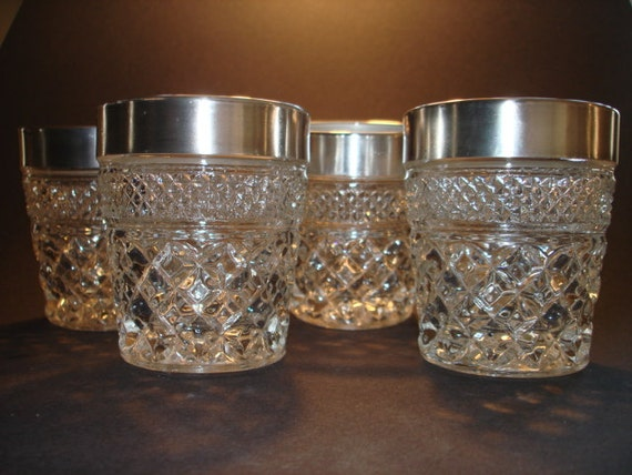 Set Of 4 Vintage Cut Glass Drinking Glasses With Wide Silver