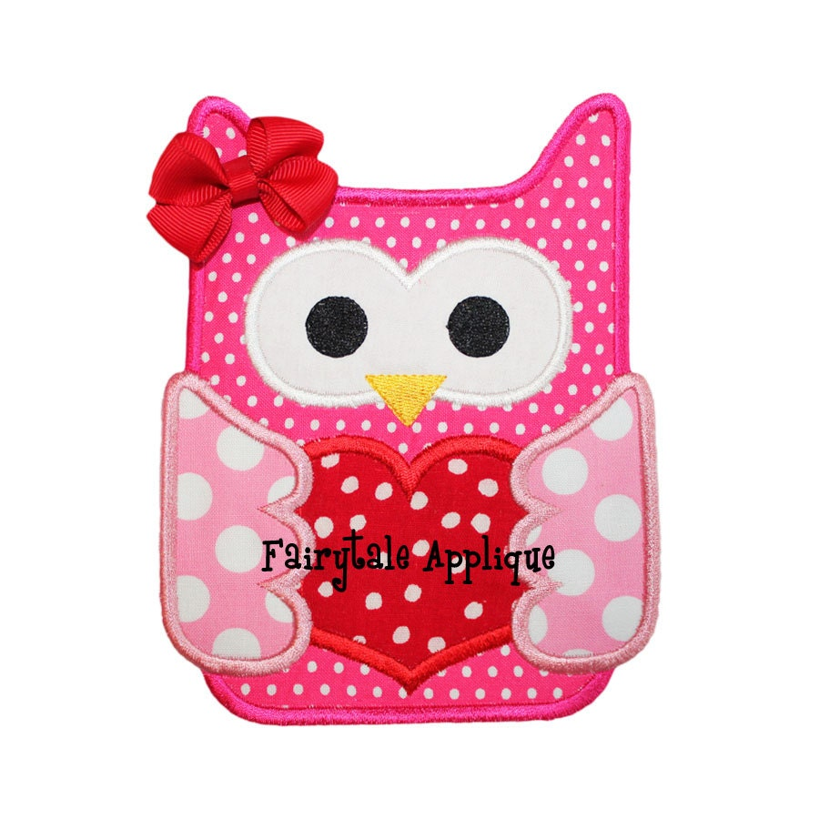 Machine embroidery design valentine owl applique