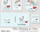 Premade Marketing set - Peter, 5x7 Birth Announcement/Any Occasion Flat Photo Card Template, CD/DVD Double Case