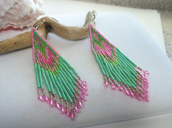 Dangle, Chandelier Handwoven Seed Bead Earrings in Watermelon Colors