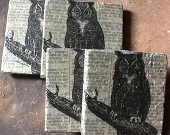 Owl coasters with newspaper print set of four