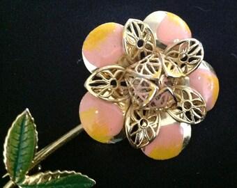 Vintage Filigree Enamel Flower Brooch