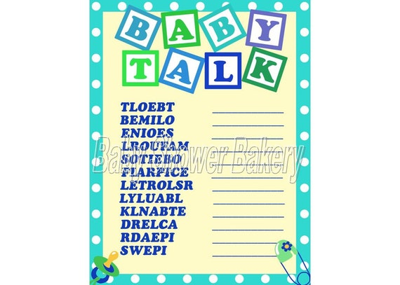 Boy Baby Shower Game, Baby Word Scramble, Baby Shower Game for Boy ...