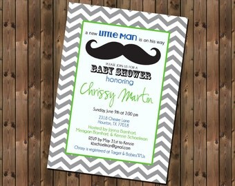 Mustache Baby Boy Shower Invitation, Chevron, Digital File,  PRINTABLE _1146