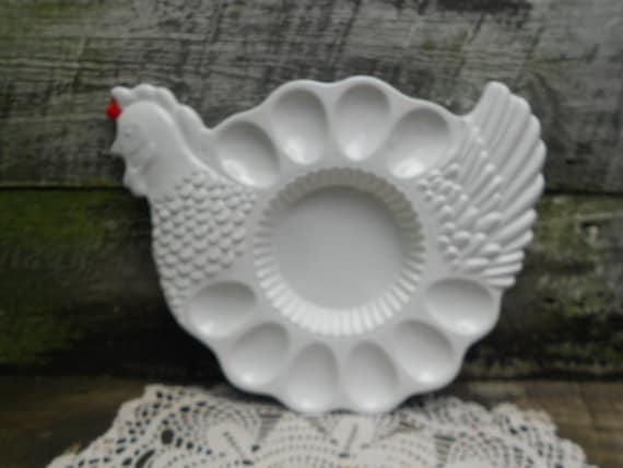 Egg Plate - Deviled Egg Plate -  Portugal - Rooster - Dip bowl - Kitchen - Porcelain Egg Plate
