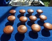 "Vintage Cherry Hard Wood Pull Knobs  Quantity 12 New Old Stock 1 1/4"" Diam."