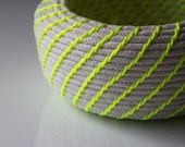 Upcycled Natural & Neon Rope Basket: Yellow / Coiled / Small