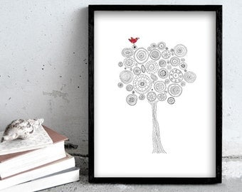 Tree drawing, 30x40cm, 11,7x15,7inch art print, black and white pen drawing, modern art, large poster, wall decoration