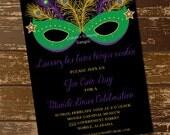 Mardi Gras Mask Invitation, Masquerade Invitation, Mardi Gras Invitation, Costume Party, New Orleans, Let the Good Times Roll - Digital File