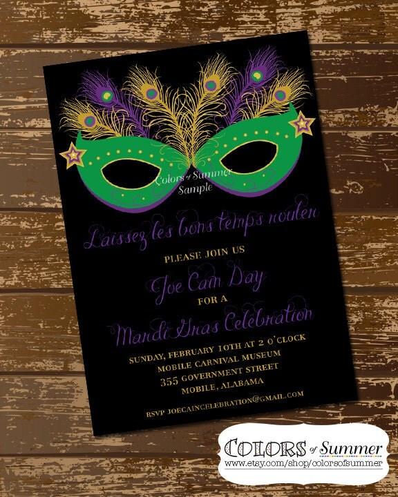 Mardi Gras Mask Invitation Masquerade Invitation Mardi Gras