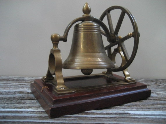 Vintage Solid Brass Bell With Ship Wheel By Dianesstuffforyou