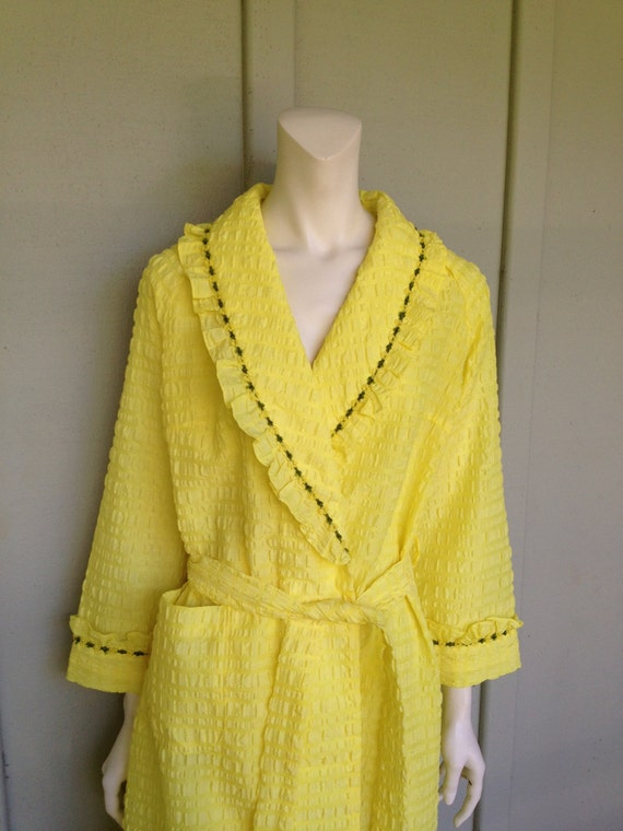 Reserved 1970's Yellow Cotton Vintage Robe