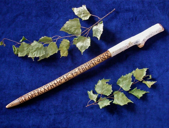 Birch wood rune wand hand carved with natural bark handle for Wooden elder wand
