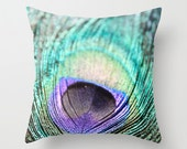 Throw Pillow Case/Cover, nature photography, peacock feather, aqua teal turquoise blue gold golden brown, bokeh macro still life - SouvenirPhotography