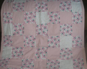 Pink Butterfly Themed Patchwork Quilt