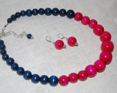 Statement Necklace Chunky Bright Fuchsia Pink and Midnight Blue Wood Bead Necklace and Earrings Set Bold