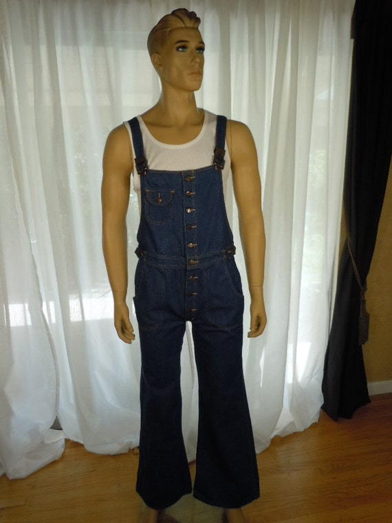 Vintage 70 S Men S Bell Bottom Bib Overalls Button By Ohumen