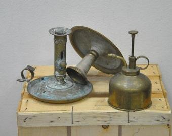 Set of 3 Cooper Vintage Candle holder ...