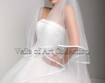 "Designer Bridal Cathedral 2 Tier Veil with 3/8"" Satin Trim Style VE171"