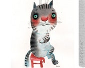 The very introvert cat sitting on a red chair, original painting by ozozo
