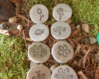 set of 8 fairy garden stepping stones with stamped designs. grey or white granite gnome pixie terrarium