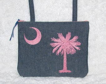 Small Purse South Carolina Palmetto Tree, Crescent Moon, Pink Embroidery, Crossbody Strap - Womans Long Strap Bag - South Carolina Denim Bag