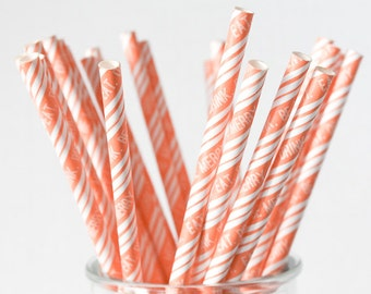 CLEARANCE - Striped Paper Drinking Straws (25) - ORANGE - Eat. Drink. Be Merry. - Includes Free Printable Straw Flags