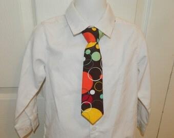 Brown/Orange Circles Adjustable Neck Tie or Bow-Tie: 0-18 Months, 2T-4T, 5T/6T, 7/8