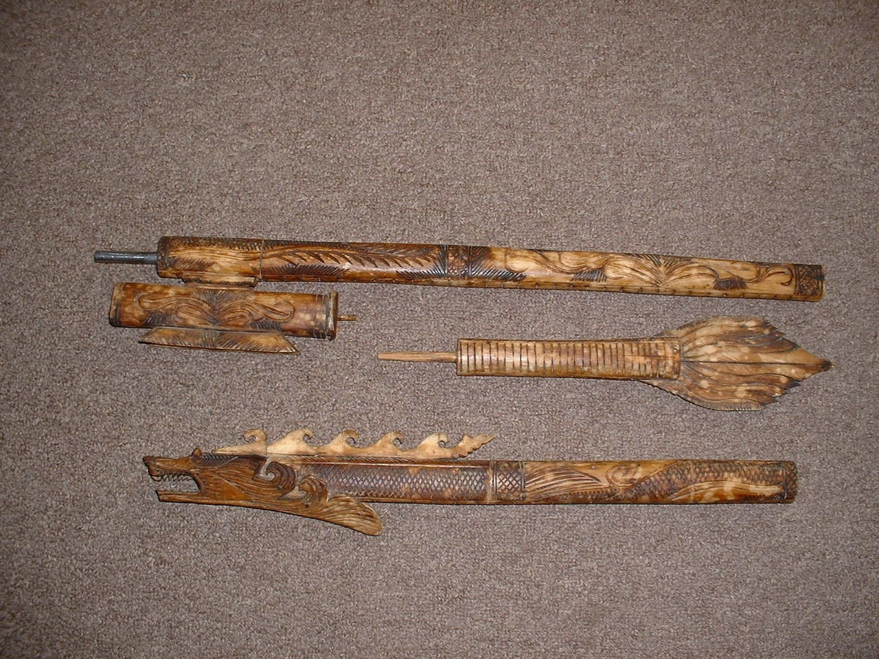 Borneo Bone Dart Blow Gun Extensively Carved With A Tail And