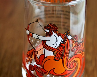 Vintage Juice glass Sagittarius zodiac sign by KMA made in 1976