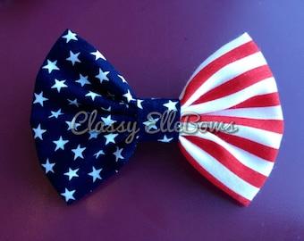 American Flag Fabric Hand sewn Hair bow