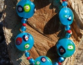 Turquoise Glass Millefiori Circle Beads strung with Czech beads