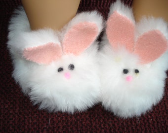 Bunny rabbit slippers made to fit American Girl white faux fur