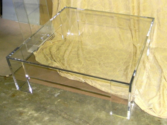 Items Similar To Lucite Acrylic Coffee Table 42 Sq X 17 High In 3 4 Clear Acrylic On Etsy