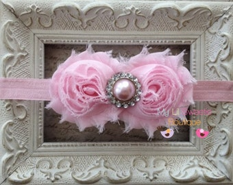 Light Pink Double Shabby Flower Headband with Matching Pearl Center - Baby Girl Headband - Toddler Headband - Adult Headband -