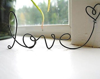 cursive love heart wire word, Frame ornament, Upcycled