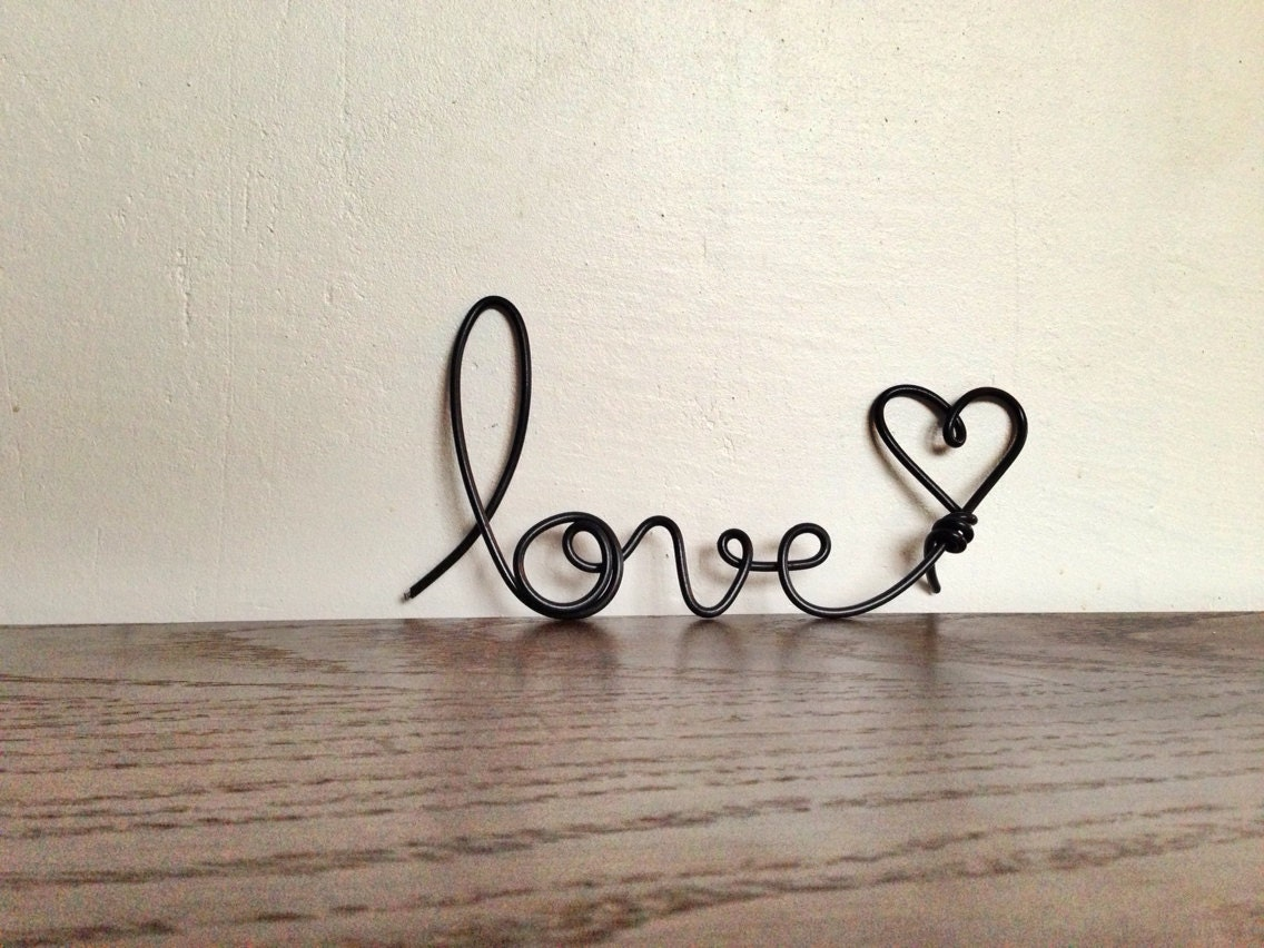 Items Similar To Pitch Black Cursive Love Heart Wire