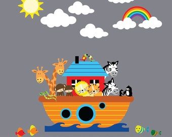 REUSABLE Noahs Ark Wall Decal - Childrens Fabric Wall Decal LARGE