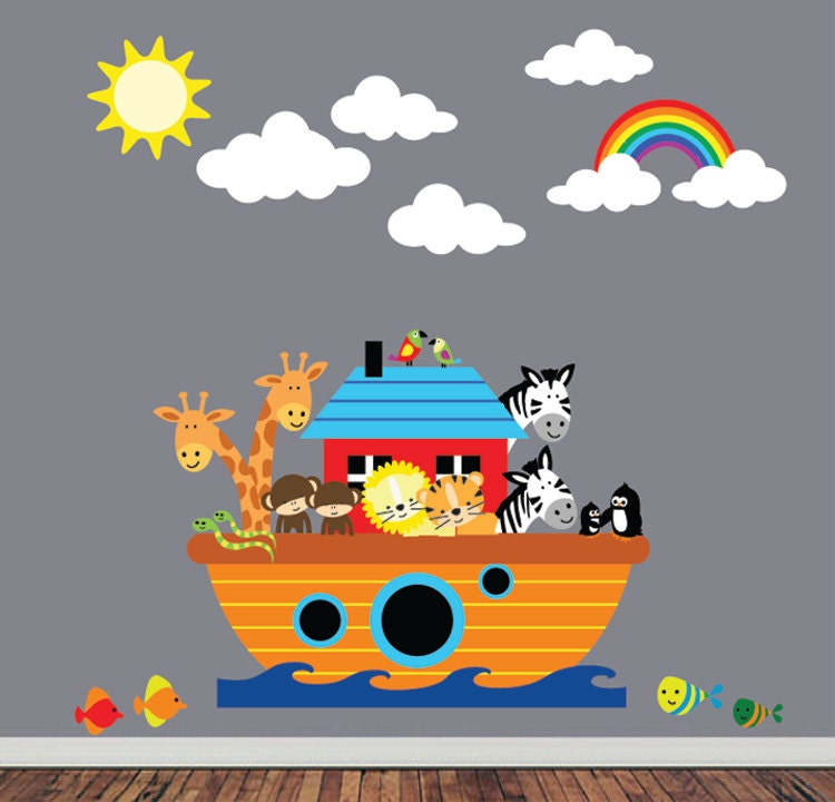 REUSABLE Noahs Ark Wall Decal Childrens Fabric Wall Decal - Wall decals noah's ark